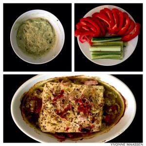 Avocado-Dip mit Ofenfeta und Gemüsesticks